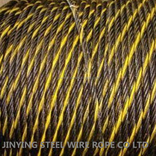 Black Steel Wire Rope With One Yellow Strand