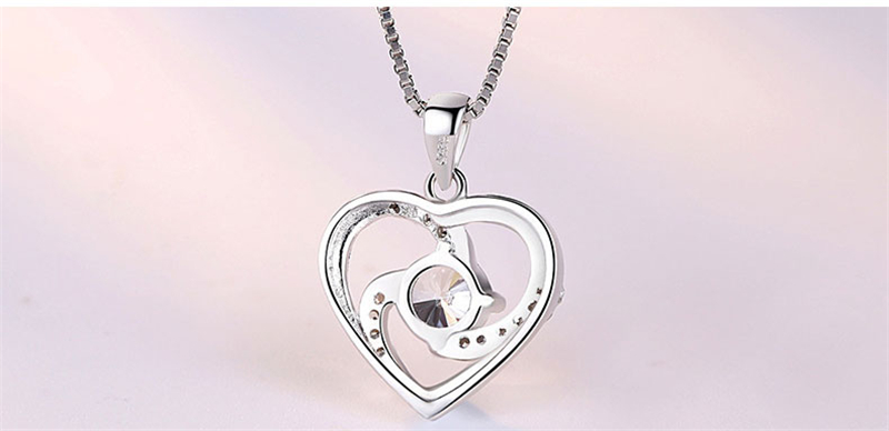 Trendy Charm Lady Dress Necklace Jewelry Diamond Heart Pendant Luxury 925 Sterling Silver Chain Necklace For Women Fashion Gift