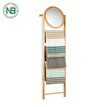 Good quality bathroom accessories bamboo ladder towel rack stand with mirror