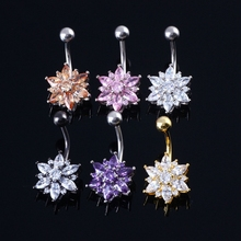 Medical Steel CZ Belly Button Ring Dangle Navel Body Jewelry Piercings