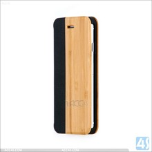 China supplier handmade bamboo wood leather stand case cover for apple iphone 6