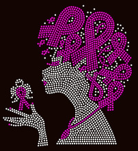 Breast Cancer Awareness Believe Rhinestone Iron On Hotfix Bling Afro Girl Rhinestone Transfer Motif For T-shirts