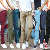 Plus size 28-38 High Quality 100% Cotton Solid Color Full Length Pencil Pants For Men, Fashion Casual Pants, Men Trousers