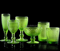 Diamond cut glass goblet, Hiball, DOF, sundae cup,Champagne flute in green color glass