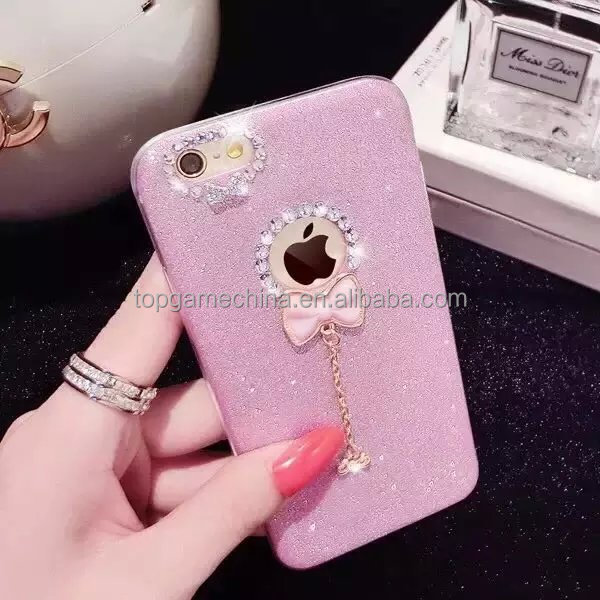 Cheap Glitter tpu phone cases for iphone 6 with hanging <strong>accessory</strong>