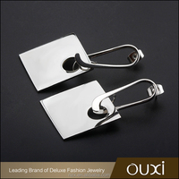 OUXI Korean style stainless steel square drop artificial jewellery wholesale prices B20007