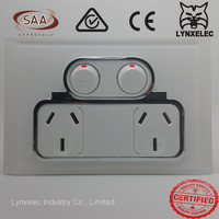 SAA High Quality Australia power outlet double 250 10A pure white switched socket
