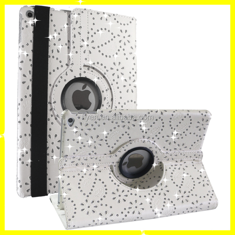 Diamond Bling Sparkly Flip Leather Case for iPad Air 2 Magnetic 360 Rotating Leather Cases Covers w/ Sleep Wake UP Stand