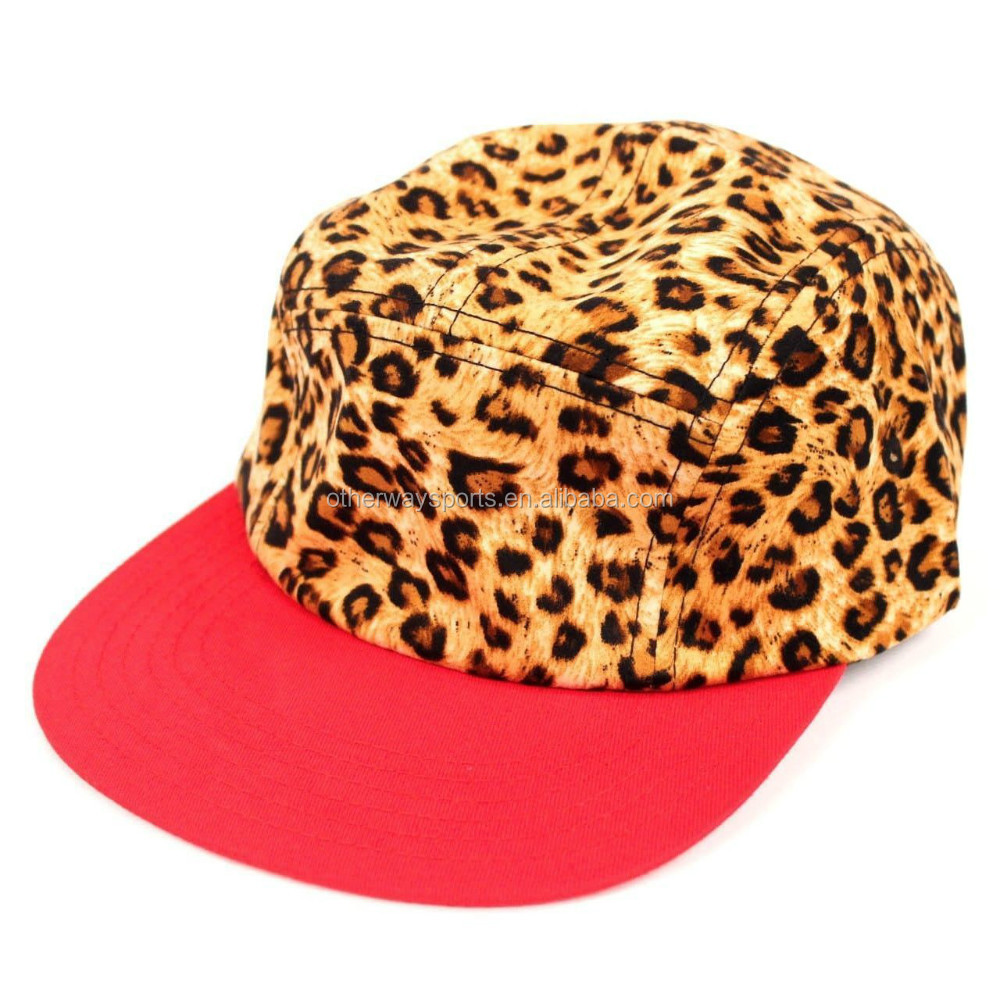 flat brim 5 panel leather strap back red 5 panel hat