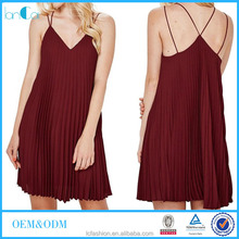 Wholesale wine red pleated mini dress customize women summer dresses