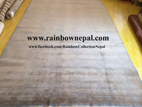 Nepalese Hand Knotted Wool Bamboo Silk Charcoal Grey Tibetan Rug Carpet 5x7 ft