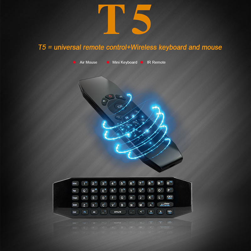 T5 Wireless Mini Keyboard Fly Air Mouse with Mic Smart Remote Control for Android TV Box A95X X96 X92 T95X T95M T95Z Plus IPTV