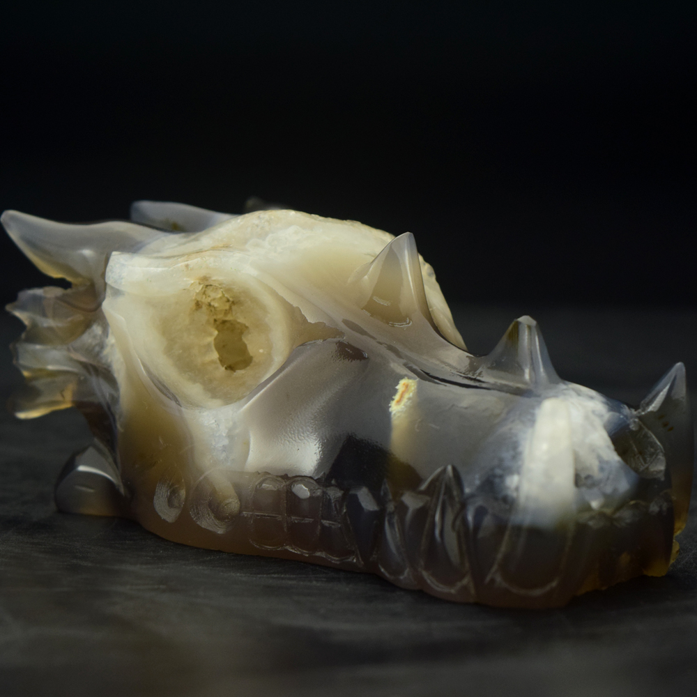 wholesale unique carved natural gemstone dragon skull head for sale