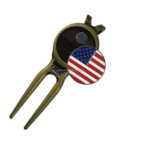 USA Flag Iron Soft Enamel Golf Ball Marker with Antique Brass Golf Divot Repair Tool
