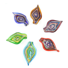 MC0015 Oil Painting Style Leaf Shaped Lampwork Murano Handmade Glass Pendants For Jewelry Necklace Making 12pcs/box