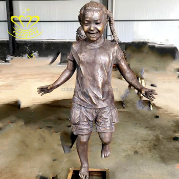 Mostpopular outdoor home garden decor New product bronze figure baby girl statue