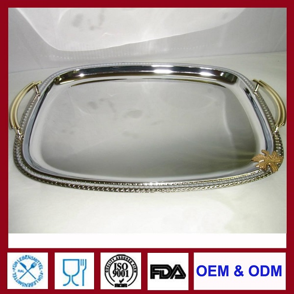 silver plated serving trays rectangular metal tray with handle for decoration of wedding party hotel household
