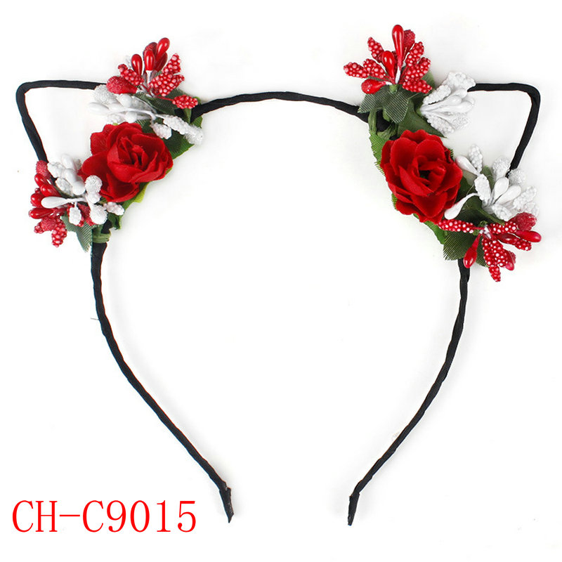 Girls Cute Animal Cat Ears Flower Hairband for cosplay or holiday