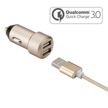 Qualcomm 3.0 double usb car charger with ce fcc rohs certified for all mobile phones
