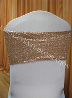 YHS#561 sequin band polyester banquet wedding wholesale chair cover sash bow