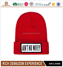 Factory price 100% acrylic winter red knitted beanie hat