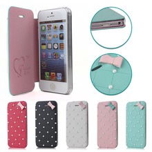 Lovely Pearl and bowknot Case for iPhone 5&5s,for cell phone