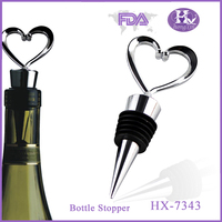 HX-7343 Fashionable custom heart shape cheap zinc alloy making wine stoppers
