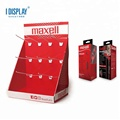 China Supplier Hot Sale Bright Red Luxury Paper Cardboard Custom Display Stand, Retail Display Racks With Hooks/