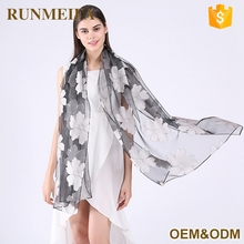 New Design The Embroidered Tulle Fabric With Organza For Women Scarf