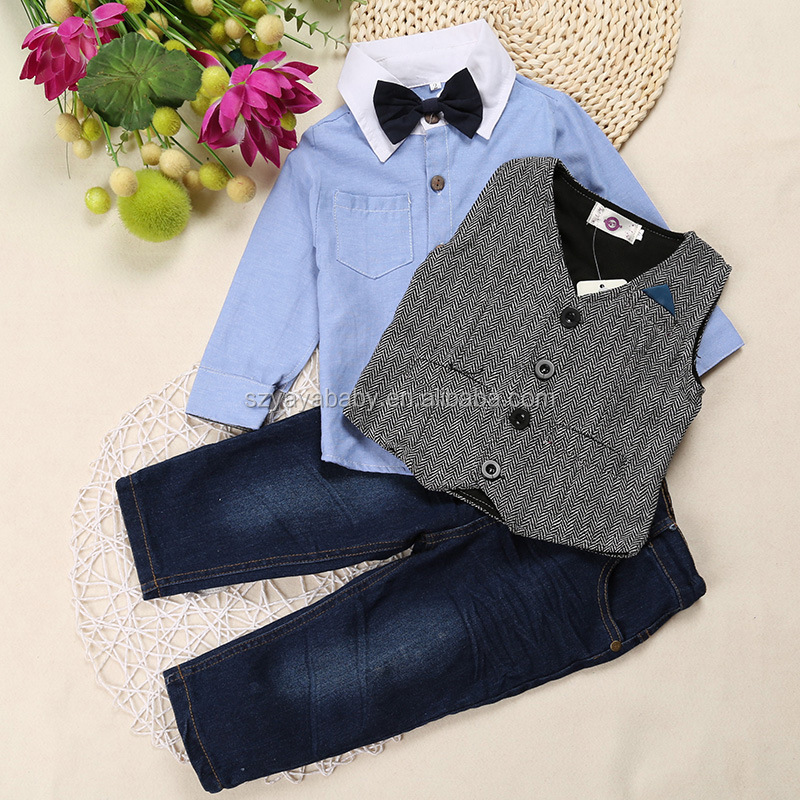 3 pcs high quality baby children boy clothings set <strong>kids</strong> with tie