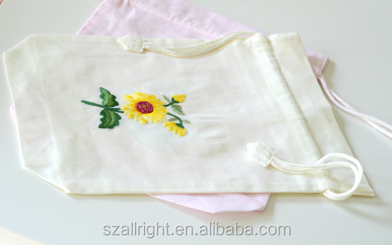 Shabby Chic floral Embroidered muslin drawstring Bag (10x4)