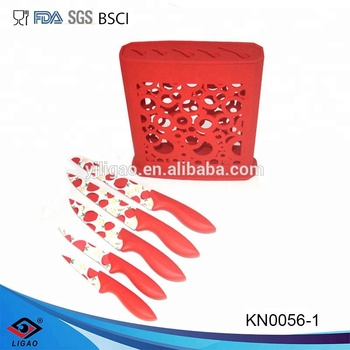 Acrylic stand kitchen knife set with non-stick coating blade