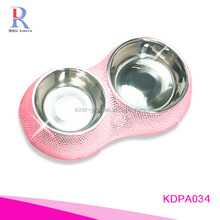 Plush funky hot pink bling bling high end diamond inlaid novelty durable melamine dog pet bowl