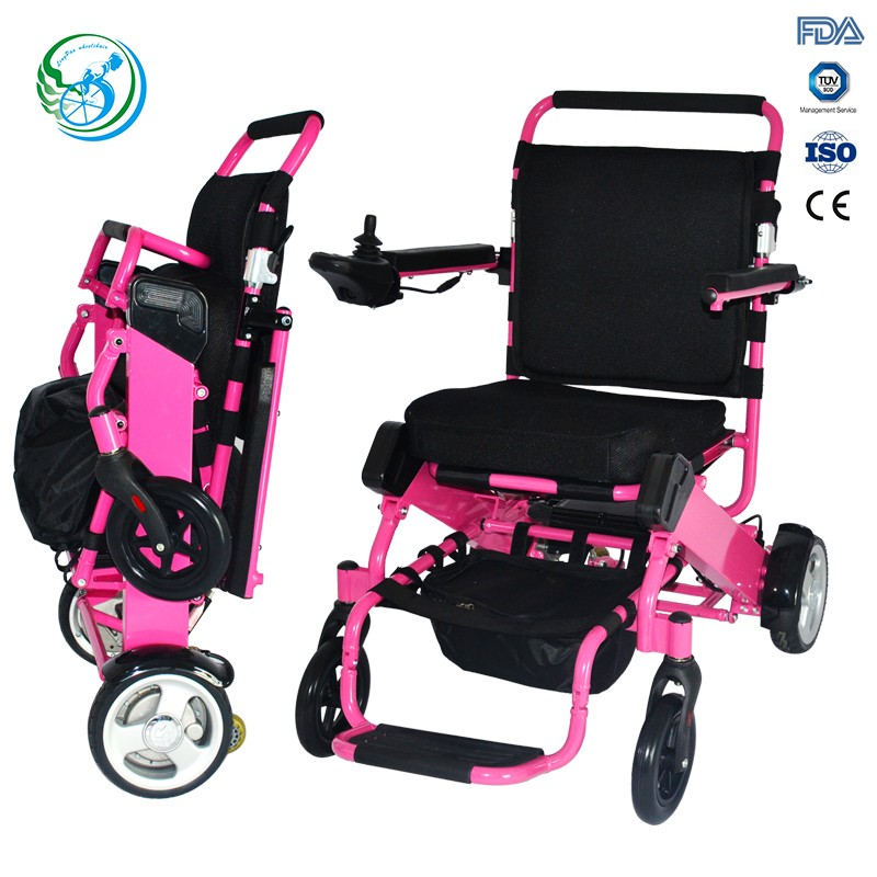 Disabled lightweight power electric folding wheel chairs with plastic footpad