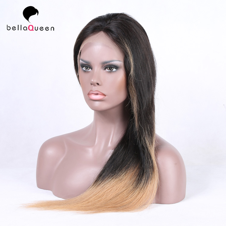 Ombre light brown weave hair wholesale full lace virgin hair wigs