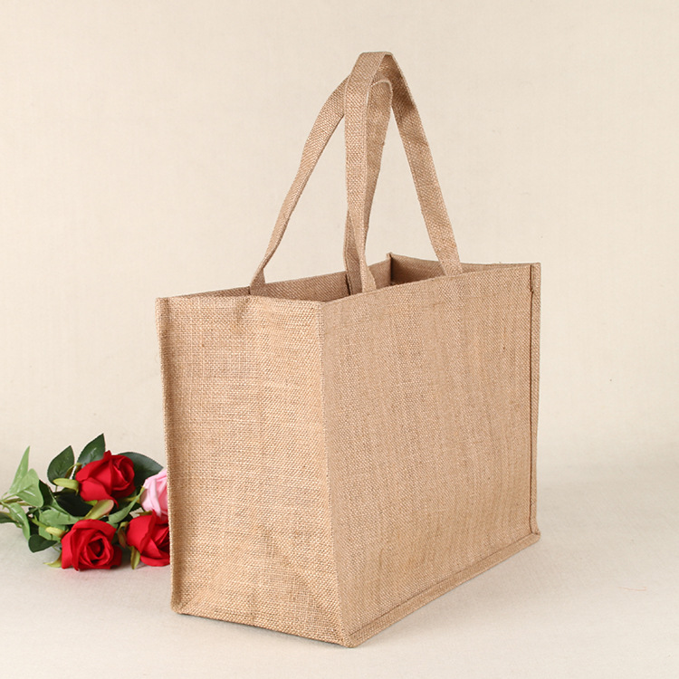 Canvas bag Cotton Jute women vintage shoulderbag tote bag jute bag shopping