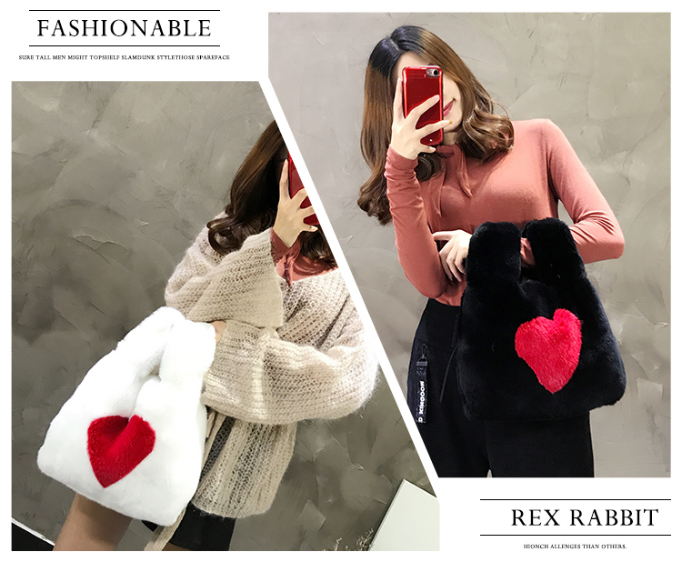 Cut beatuiful heart design women rex rabbit fur shoulder bag