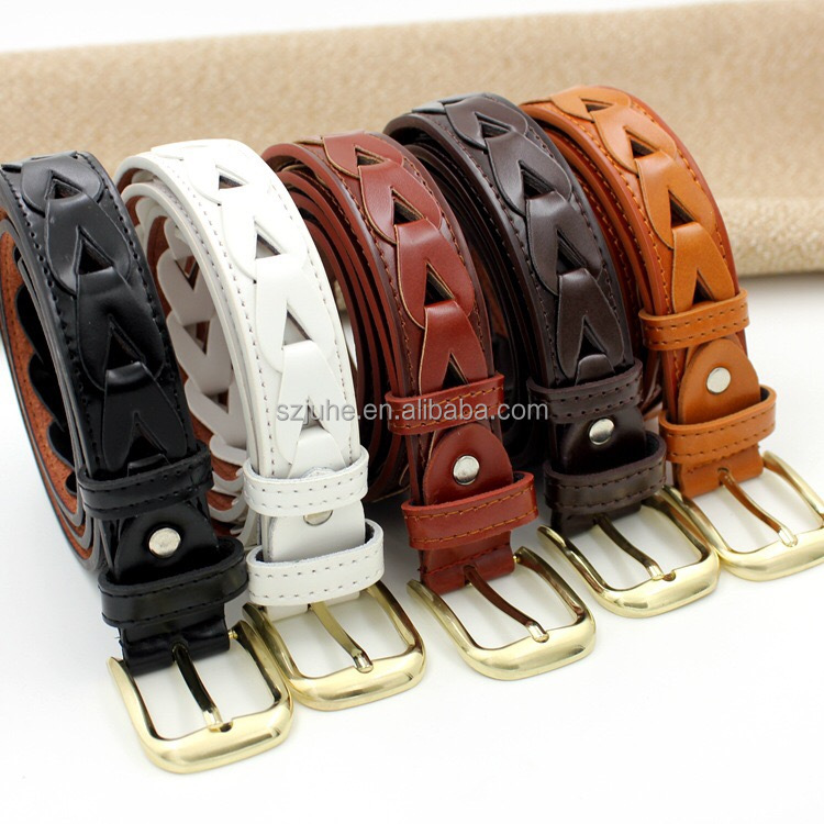 Hot sale PU leather slimming belt women leather belt woven waist belt