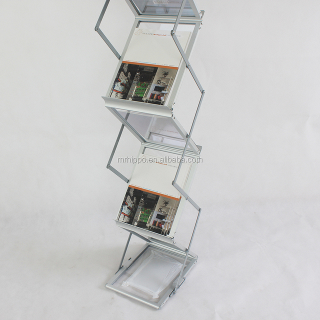 Aluminum acrylic brochure display rack 6*A4 pockets zig zag display stand/Metal magazines stand newspaper display rack