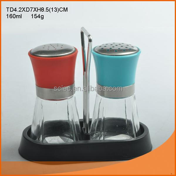 Modern set of 2pcs glass jar with sieve lid on carrier /glass spice jar