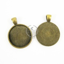 25mm setting size vintage alloy antique bronze round pendant bezels tray 1411028
