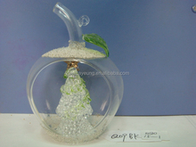 Apple shaped decoratings clear glass christmas balls ornaments gifts wholesale
