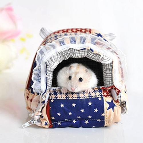 Pet Zipper Washable Pet Small Pets House Warm Nest Printed Soft Bed Foldable Sponge Nest, L, Size:24*21*21cm