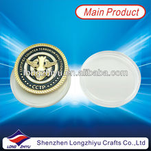 3D Commemorative round bronze alloy coins medallion with round plastic coin box packing for souvenir