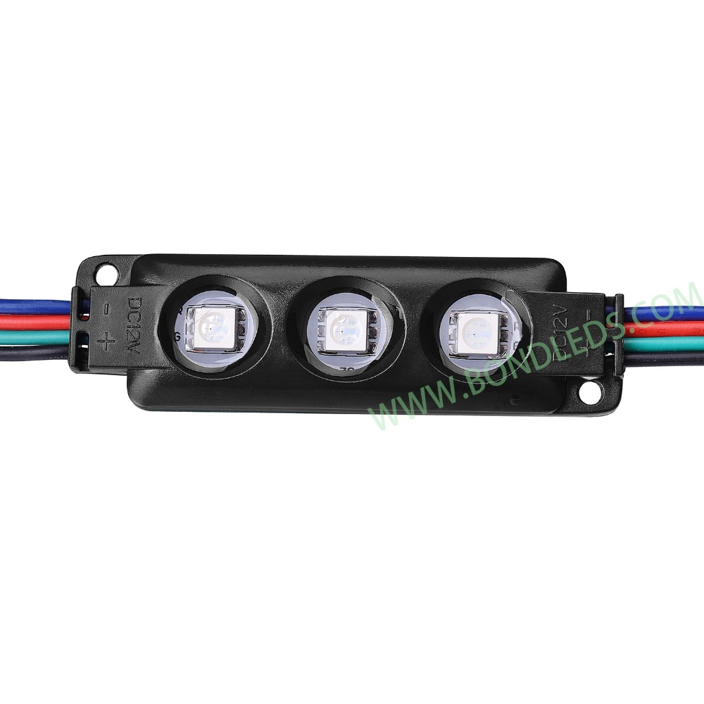 5050 rgb led pixel module 3 chips with lens 12v waterproof High Brightness addressable led module light for channel letter