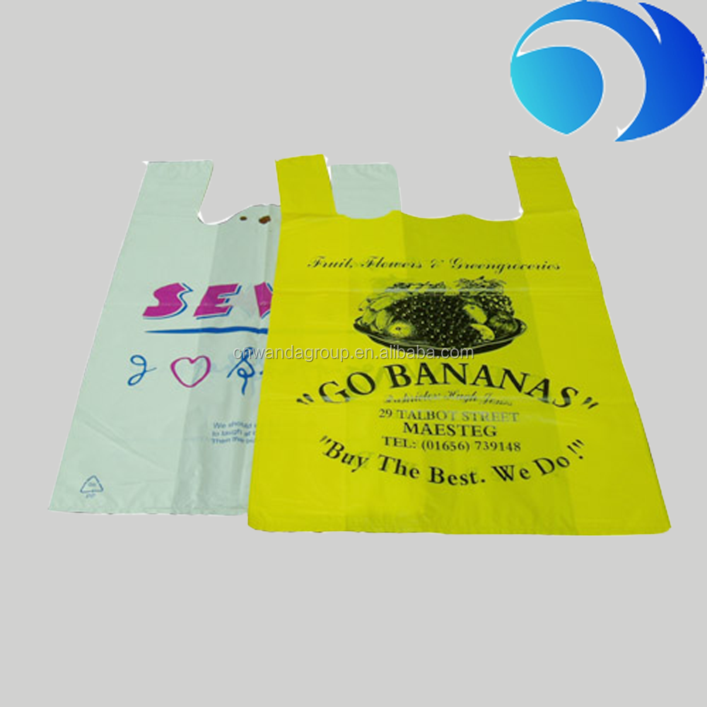 2016 LDPE material,hdpe material handling t-shirt vest packaging shopping plastic bag