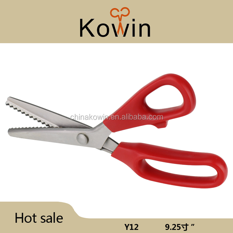 Red plastic handle stainless steel pinking scissors zigzag fabric tailor shear