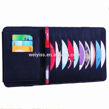 Factory OEM Direct Supply Removable Leather Car CD Sleeve, Custom Logo Car Sun Visor CD Holder