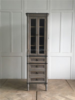 bathroom oak solid wood glass cabinet
