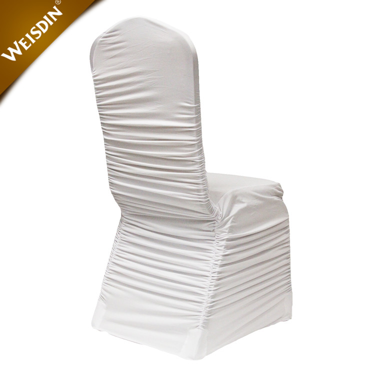 Guangzhou hot sale white stretch ruched spandex ruffled banquet wedding chair cover